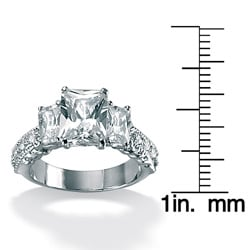 Ultimate CZ Platinum Over Sterling Silver Emerald-Cut and Round Cubic Zirconia Ring