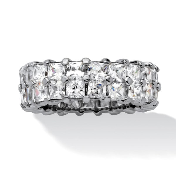 PalmBeach 6.72 TCW Princess-Cut Cubic Zirconia Platinum over Sterling Silver Double Row Eternity Ring Classic CZ