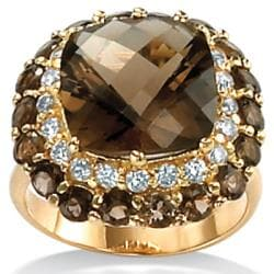 PalmBeach 18k Gold over Silver Smoky Quartz and CZ Ring Diamonds & Gems
