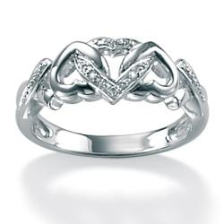 PalmBeach Platinum over Silver Diamond Accent Heart Ring Diamonds & Gems