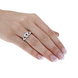 Isabella Collection Platinum over Silver Diamond Accent Heart Ring
