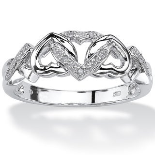 PalmBeach Platinum over Silver Diamond Accent Heart Ring