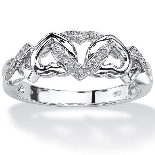 PalmBeach Diamond Accent Interlocking Hearts Promise Ring in Platinum over Sterling Silver