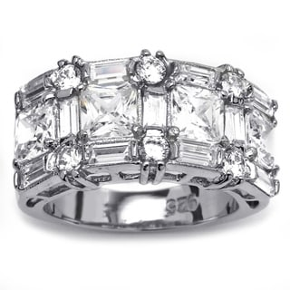 Ultimate CZ Cubic Zirconia Platinum Over Sterling Silver Ring