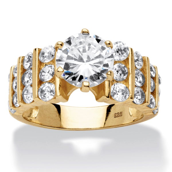 PalmBeach 3.36 TCW Round Cubic Zirconia 18k Gold over Sterling Silver Ring Classic CZ