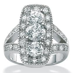 PalmBeach 2.49 TCW Round Cubic Zirconia Platinum over Sterling Silver Elongated Ring Glam CZ