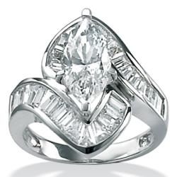 PalmBeach CZ Gold-over-silver Marquise-cut Cubic Zirconia Fashion Ring Glam CZ