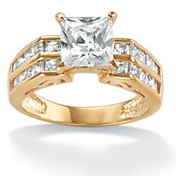 Ultimate CZ 18k Gold over Silver Cubic Zirconia Ring