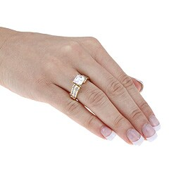 Ultimate CZ 18k Gold-over-silver White Cubic Zirconia Ring