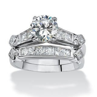 PalmBeach 2 Piece 3.14 TCW Round Cubic Zirconia Bridal Ring Set in Platinum over Sterling Silver Classic CZ