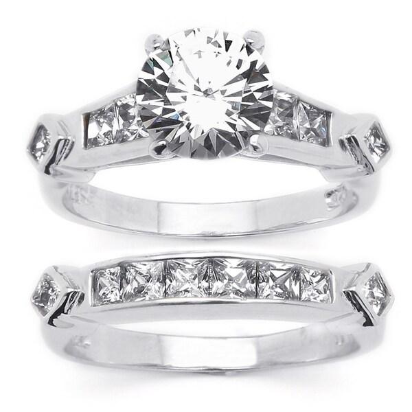 PalmBeach CZ Platinum Over Silver 2 Piece Cubic Zirconia Wedding Ring Set Classic CZ