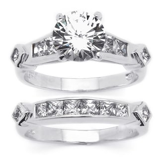 PalmBeach CZ Platinum over Silver 2-piece Cubic Zirconia Wedding Ring Set Classic CZ