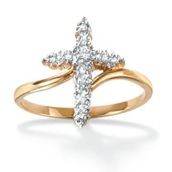 Isabella Collection 18k Gold over Silver Diamond Accent Cross Ring