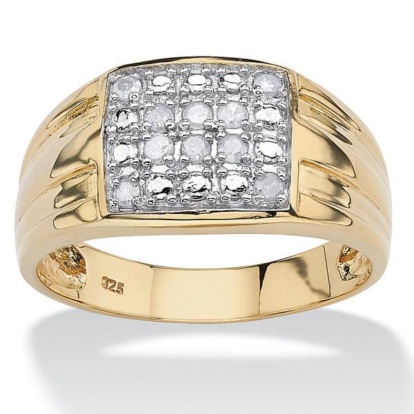 PalmBeach 18k Gold over Silver Men's 1/2ct TDW Diamond Ring (I-J, I2-I3)