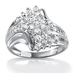 Isabella Collection Platinum over Silver 1/10ct TDW Diamond Ring (G-H, I2-I3)