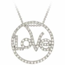 Icz Stonez Sterling Silver Cubic Zirconia Circle Love Necklace