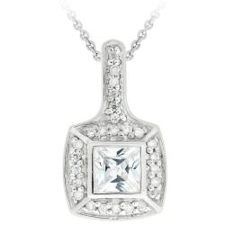 Icz Stonez Sterling Silver Square Cubic Zirconia Necklace