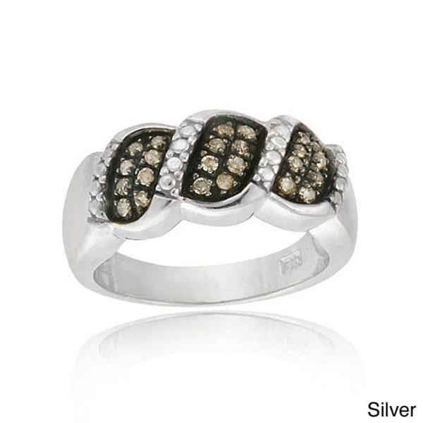 DB Designs Sterling Silver 1/4ct TDW Brown Diamond Ring (I-2, I-3)
