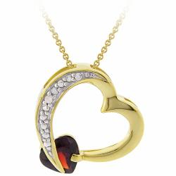Glitzy Rocks 18k Gold over Sterling Silver Garnet and Diamond Accent Necklace