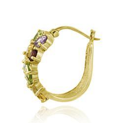 Glitzy Rocks 18k Gold over Sterling Silver Multi-gemstone Hoop Earrings