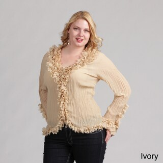 Kaelyn Max Women's Plus Size Ruffled V-neck Blouse