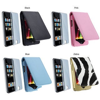 Pink Leather Case and LCD Screen Protector Kit for iPod Touch