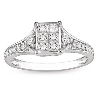 Miadora 10k White Gold 1/2ct TDW Diamond Engagement Ring (G-H, I1-I2) with Bonus Earrings