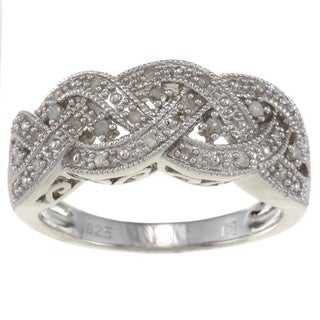 Miadora Sterling Silver 1/8ct TDW Diamond Ring (H-I, I2-I3)