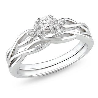 Miadora 10k White Gold Infinity Diamond Bridal Ring Set (G-H, I2-I3) with Bonus Earrings