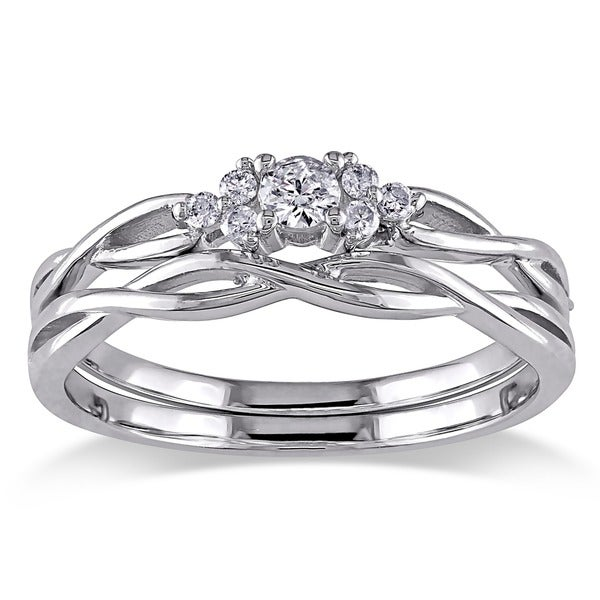 Miadora 10k White Gold Braided Diamond Bridal Ring Set (G-H, I2-I3)