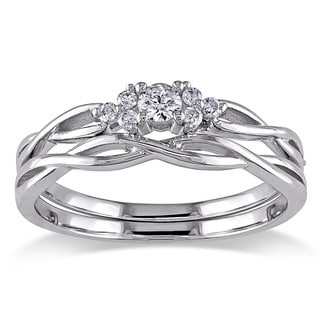 Miadora 10k White Gold 1/6ct TDW Diamond Braided Bridal Ring Set (G-H, I2-I3)