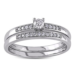 Miadora 10k White Gold 1/5ct TDW Diamond Bridal Set (G-H, I2-I3)