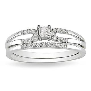 Miadora 10k White Gold 1/5ct TDW Diamond Bridal Ring Set (G-H, I2-I3)
