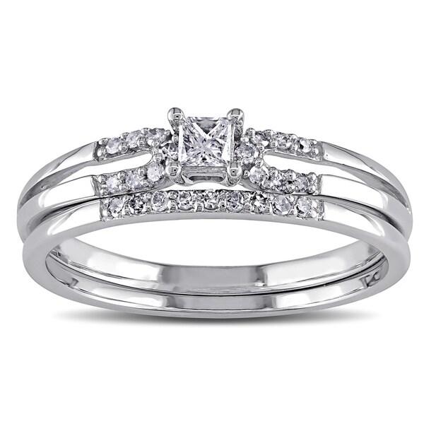 Miadora 10k White Gold 1/5ct TDW Diamond Bridal Ring Set (G-H, I2-I3)