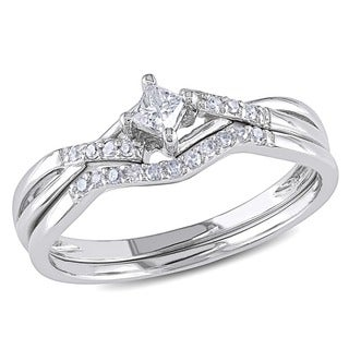 Miadora 10k White Gold 1/5ct TDW Diamond Bridal Promise Ring Set (G-H, I2-I3) with Bonus Earrings