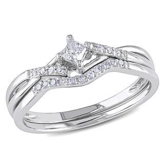 Miadora 10k White Gold 1/5ct TDW Diamond Bridal Promise Ring Set (G-H, I2-I3)