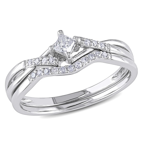 1/5 CT Princess and Round Diamonds TW Bridal Set Ring 10k White Gold GH I2;I3