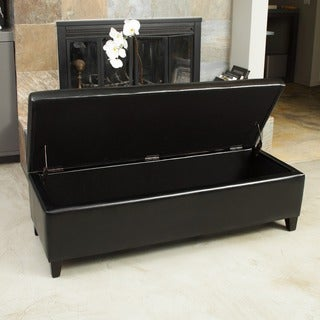Christopher Knight Home York Bonded Leather Black Storage Ottoman Bench