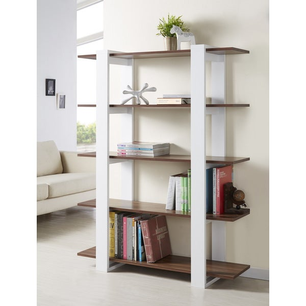 Furniture of america haven 5 tier display bookshelf for Furniture of america nara contemporary 6 shelf tiered open bookcase