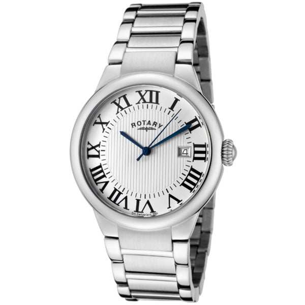 Rotary Men's Light Silver Textured Dial Stainless Steel Watch