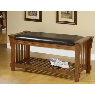 Slats Vanity Bicast Leather Antique Oak Wood Bench