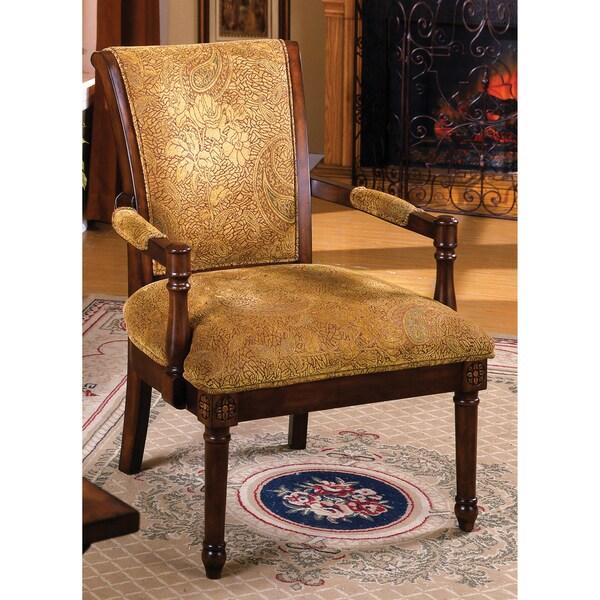 Furniture of America Betty Fleur Antique Oak Wood Accent Chair
