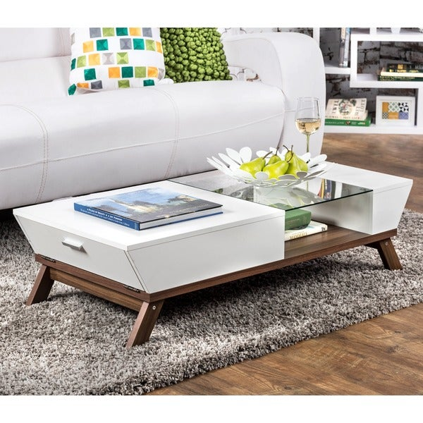 Furniture of America Kress Glass Insert Mid-century Style Coffee Table