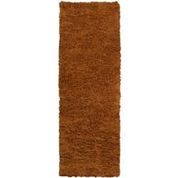 Hand-woven Sante Fe Brown Plush Shag Wool Rug (2'6 x 8')