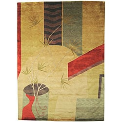 Hand-knotted Contemporary Karur Beige Wool Abstract Rug (8'x11')