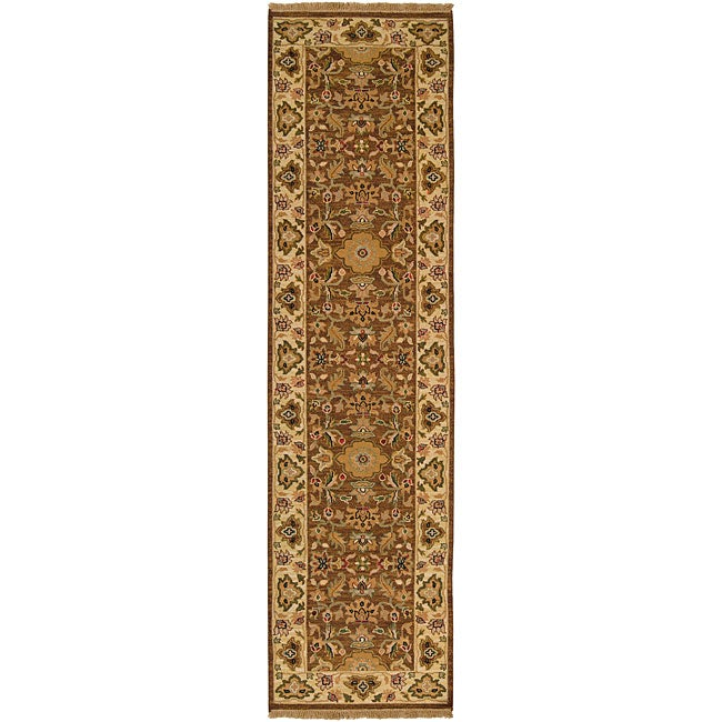 Hand-knotted Sangli Brown Wool Rug (2'6 x 10')