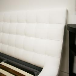 Celia White Bonded Leather Queen Platform Bed