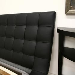 Celia Black Bonded Leather Queen Platform Bed