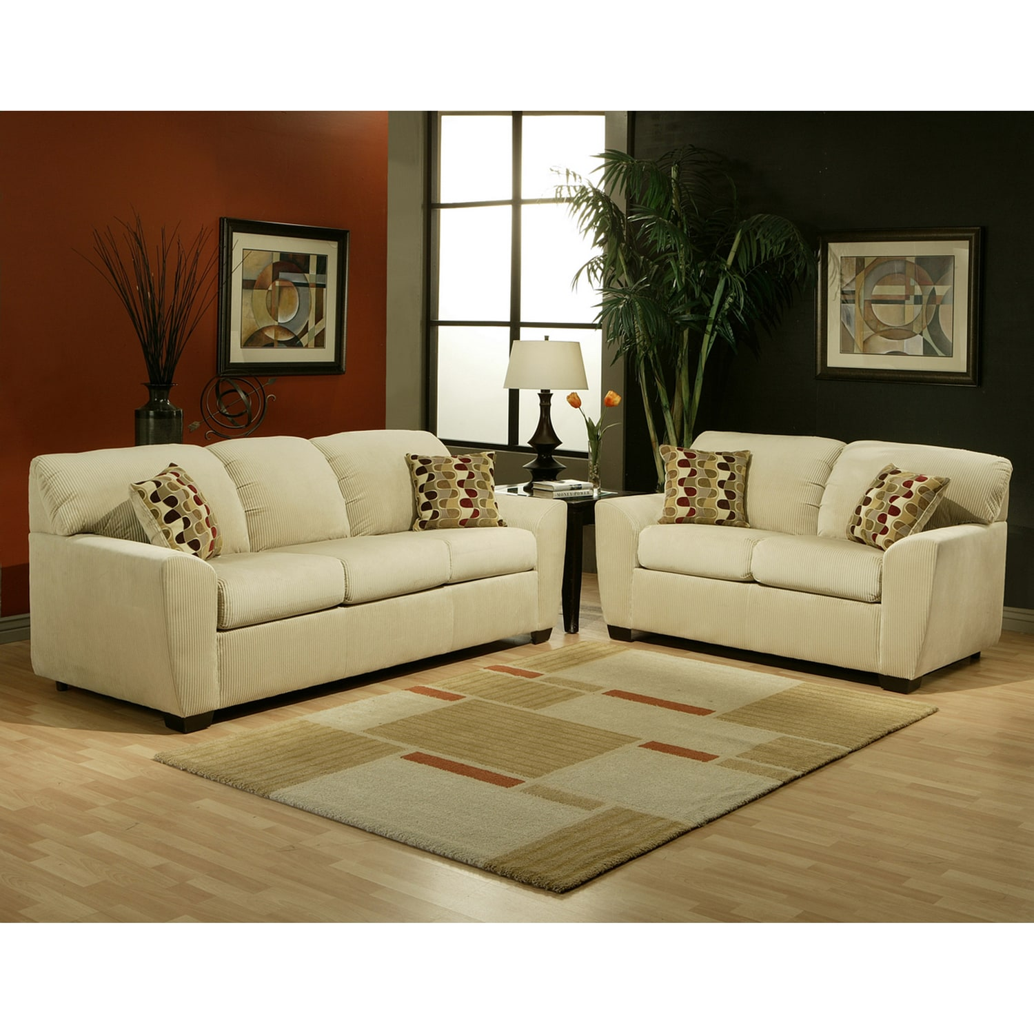 Furniture of america boxer micro velvet wheat 2 piece sofa for Sofa set deals