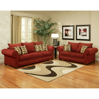 Furniture of America Connor Velvet Berry 2-piece Sofa Set